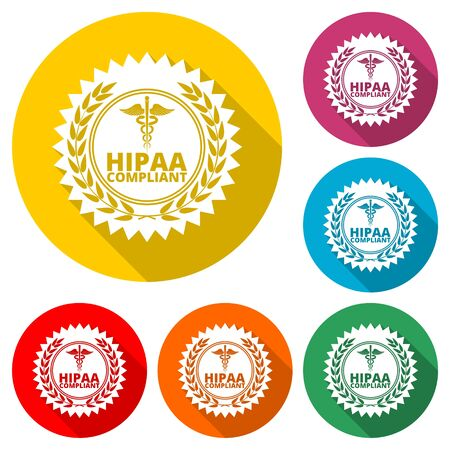 HIPAA - Health Insurance Portability and Accountability Act shadow, color icon with long shadow