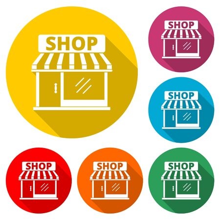 Store icon, Shop icon, color icon with long shadow Illustration