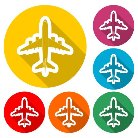 Plane sticker, Airplane icon , color icon with long shadow Çizim