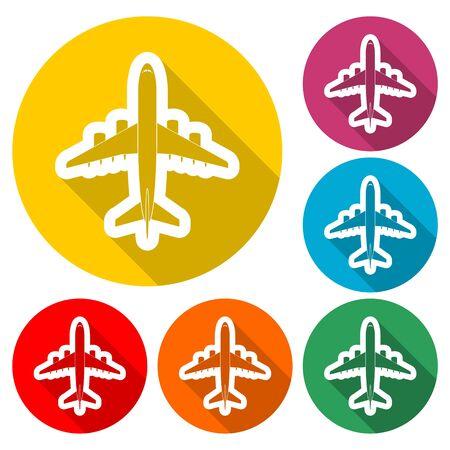 Plane sticker, Airplane icon , color icon with long shadow Illusztráció
