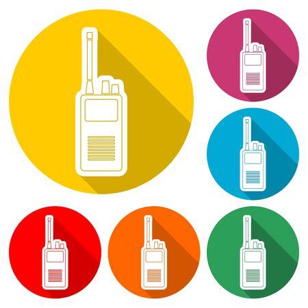 Radio icon, Simple icon mobile radio, color icon with long shadow Stock Illustratie