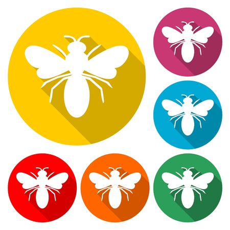 Bee Silhouette icon, color icon with long shadow