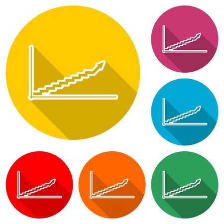 Growth chart icon, color icon with long shadow