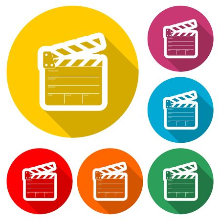 Movie icon, Film Flap sticker, color icon with long shadow