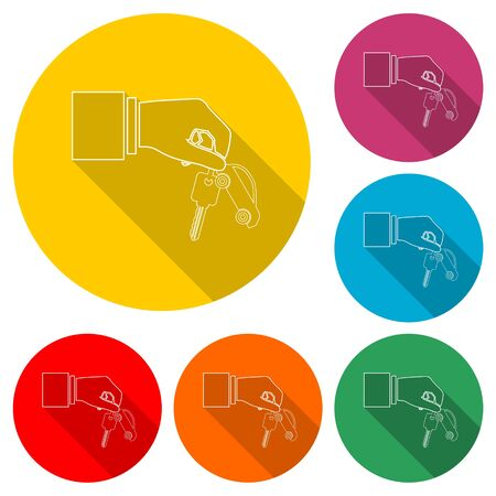 Hand giving car keys, Car Sharing icon, color icon with long shadow Çizim