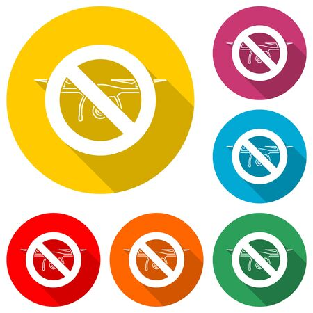 No drone traffic sign, color icon with long shadow