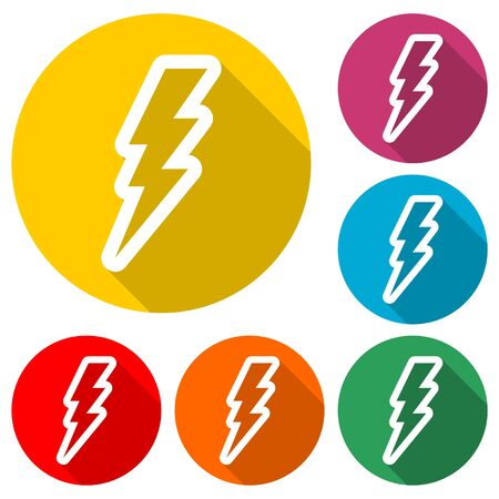 Lightning bolt icon, color icon with long shadow Illustration