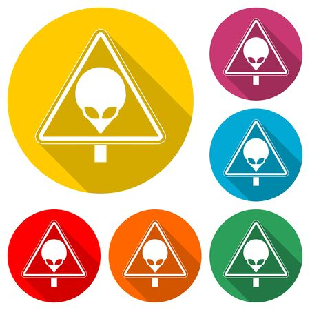 Ufo danger icon, color icon with long shadow