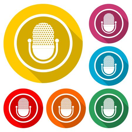 Microphone retro icon, color icon with long shadow