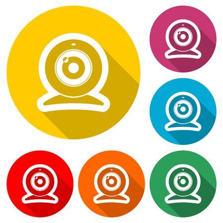 Web camera icon, color icon with long shadow