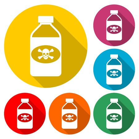 Old drug bottle, Deadly poison in bottle icon, color icon with long shadow