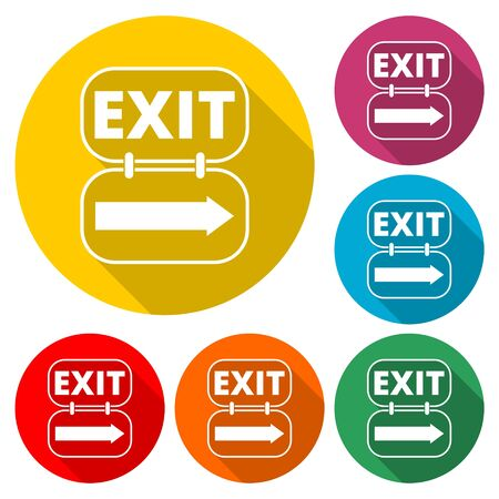 Fire exit sign icon, Emergency exit, color icon with long shadow Ilustração