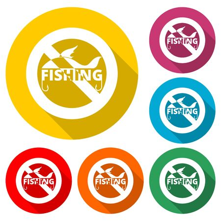 Prohibition Sign No Fishing icon, No Fishing Sign, color icon with long shadow 向量圖像