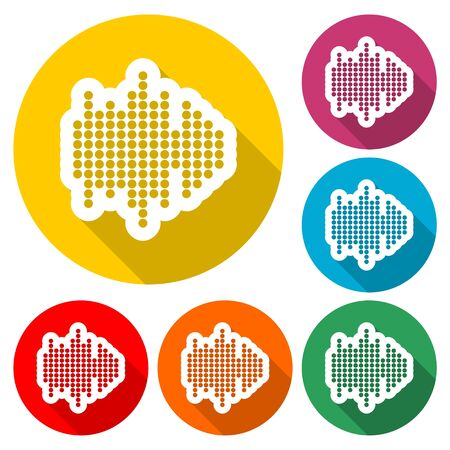 Audio wave icon, color icon with long shadow