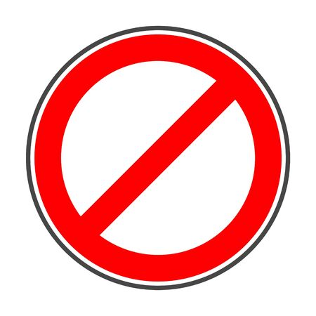 Prohibition no symbol Red round stop warning sign 免版税图像 - 132381845