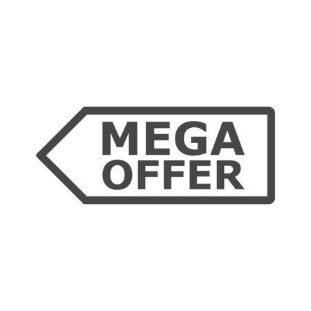 Tag di prezzo di offerta mega, illustrazione vettoriale semplice Vettoriali