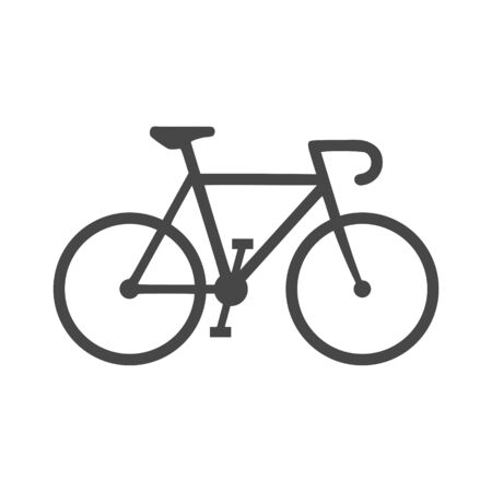 Bicycle fitness line art icon, bike icon on white background