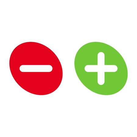 Green plus and red minus flat vector icon