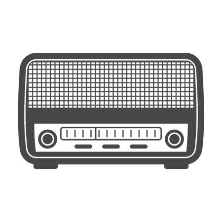 Antique radio on white background, Retro radio icon Stock Illustratie
