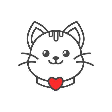 Cute Cat Logo Standard-Bild - 133328297