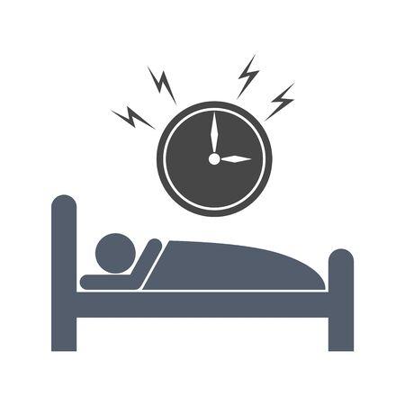 Alarm clock wakes the sleeping man, Alarm icon 向量圖像