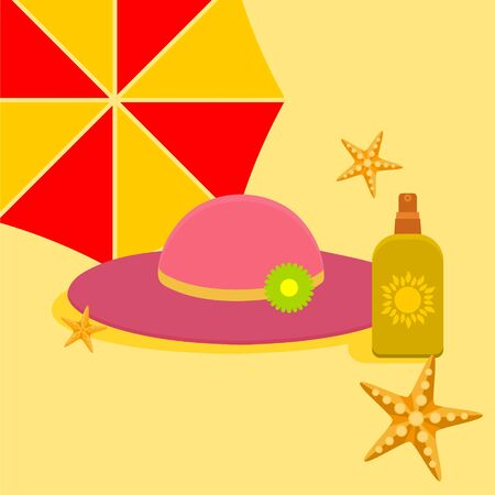 Sunblock cream with hat vector
