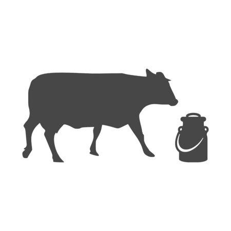 Milk can and cow icon