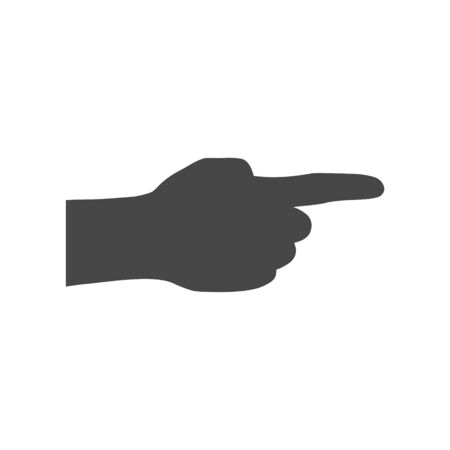 Pointing finger. Vector black icon