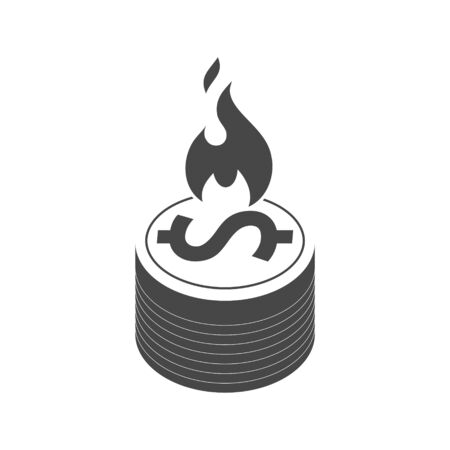 Money On Fire icon, sign