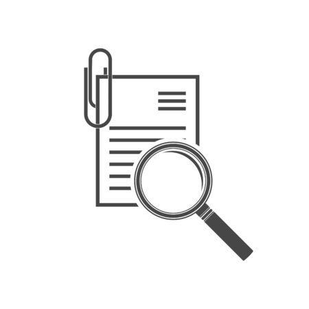 Verification and review concept, magnifier on