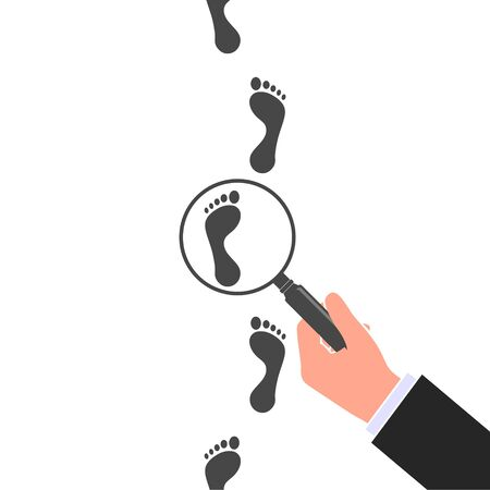 Following footsteps vector color illustration. Hand holding magnifying glass above footprint flat illustration. Detective inspecting Vetores