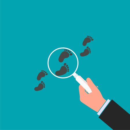 Following footsteps vector color illustration. Hand holding magnifying glass above footprint flat illustration. Detective inspecting