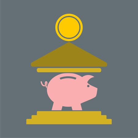 The moneybox icon, Cash and money, Pig coin