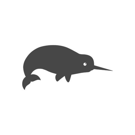 Cute narwhal icon Çizim