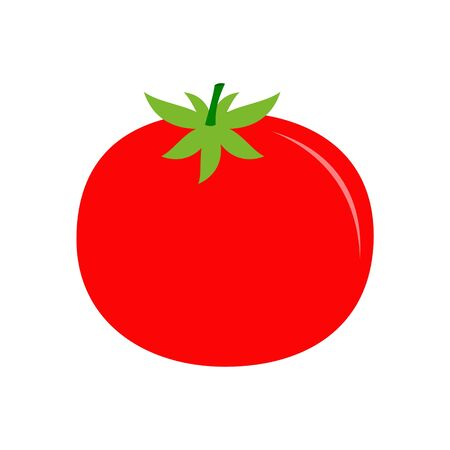 Tomato with leaves flat icon for food apps Stock fotó - 138293541