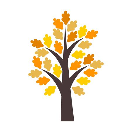 Autumn tree with yellow and orange leaves Ilustrace