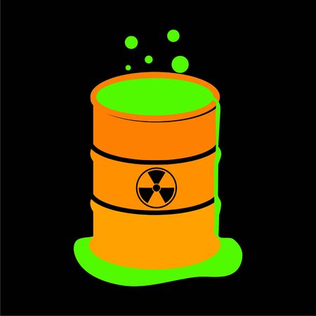 Radioactive green slime icon, Barrel with spilled liquid Foto de archivo - 138472300