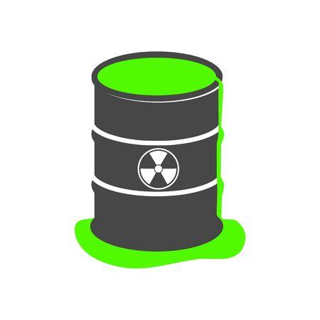 Radioactive green slime icon, Barrel with spilled liquid Foto de archivo - 138472305
