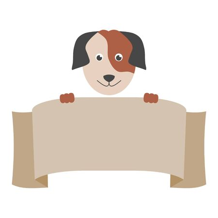 Cartoon Dog Banner, Cartoon illustrated dog holding blank sign