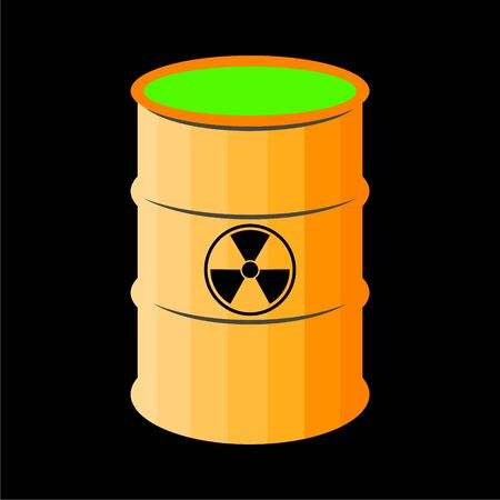 Radioactive green slime icon, Barrel with spilled liquid Foto de archivo - 138472307