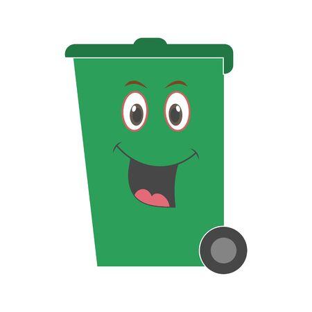 Happy smiling face cartoon trash bin