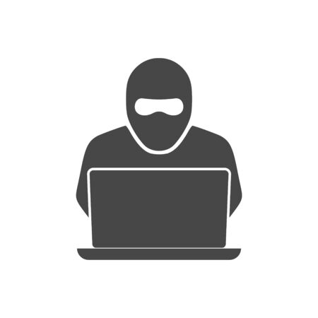 Hacker, laptop logo or icon Stock Illustratie