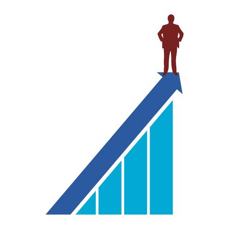 Businessman stands on top, Business concept