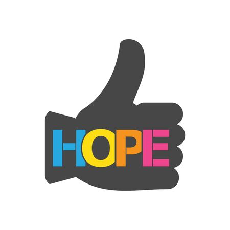 HOPE color vector letters icon
