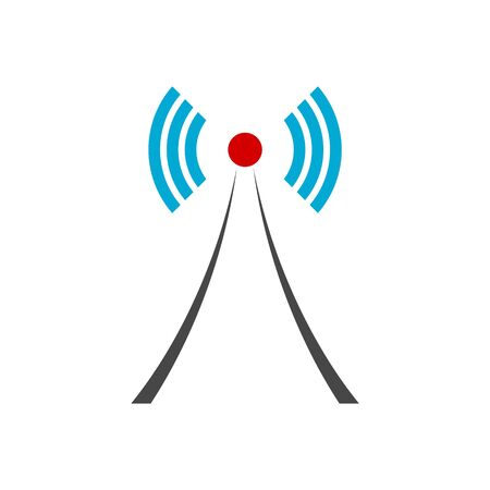 Wireless tower with waves, Tower icon, Tower logo