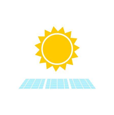Solar Panel With Sun Icon, Simple vector icon