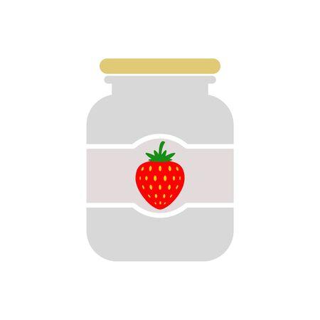 Strawberry jam jar simple icon
