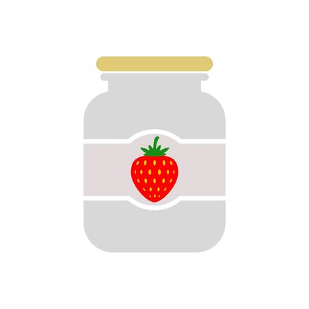 Strawberry jam jar simple icon