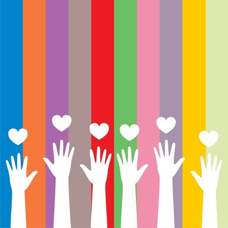Colorful caring up hands hearts sticker Ilustración de vector