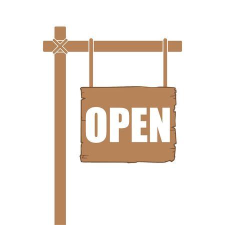 Open Sign On Wood Board sticker Ilustracja